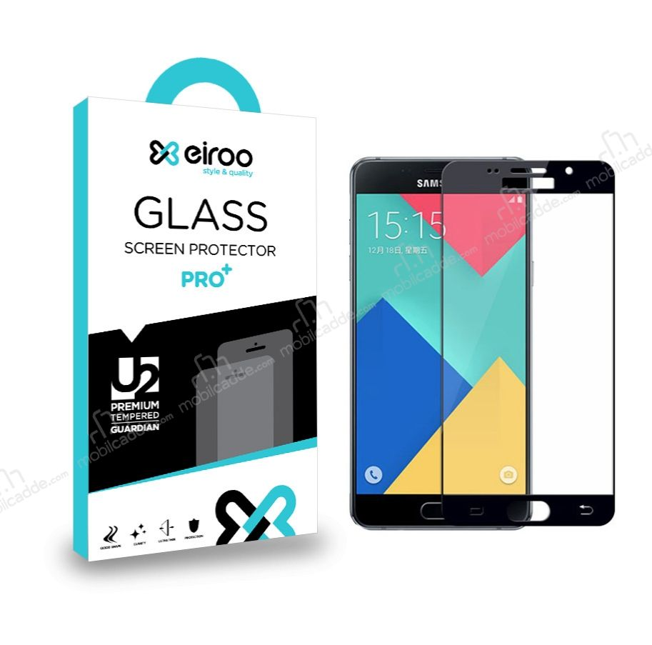 Eiroo Samsung Galaxy A7 2016 Curve Tempered Glass Siyah Full Cam Ekran Koruyucu