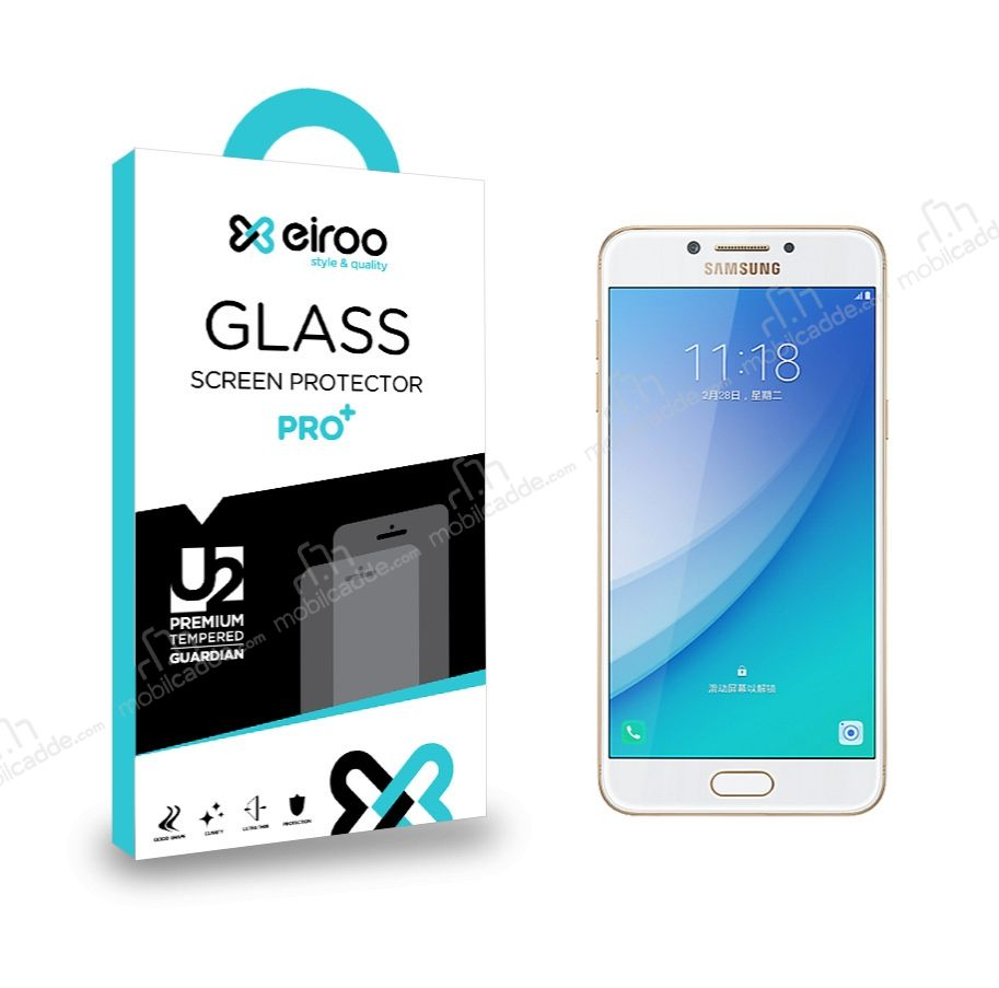 Eiroo Samsung Galaxy C7 Pro Tempered Glass Cam Ekran Koruyucu