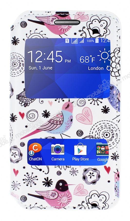 Samsung Galaxy Core 2 Gizli Mknatsl Ift Pencereli Bird Deri Klf