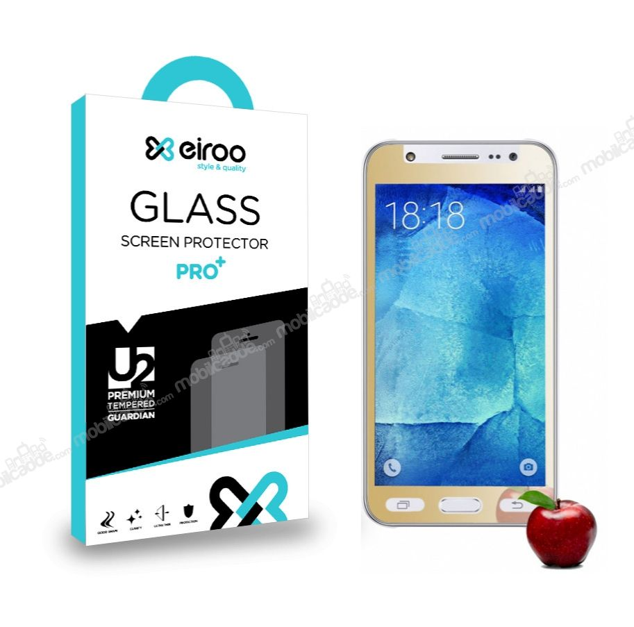 Eiroo Samsung Galaxy J5 Tempered Glass Ayna Gold Cam Ekran Koruyucu