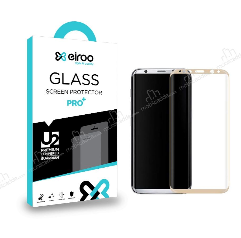 Eiroo Samsung Galaxy S8 Plus Curve Tempered Glass Gold Full Cam Ekran Koruyucu