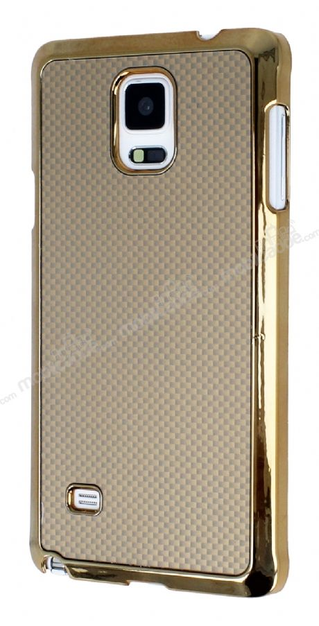 Eiroo Samsung N9100 Galaxy Note 4 Gold Metal Kenarlı Gold Rubber Kılıf