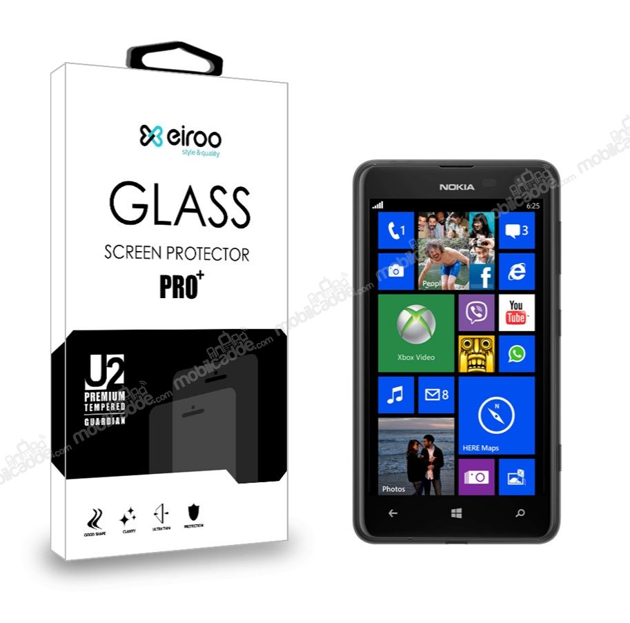 Eiroo Nokia Lumia 625 Tempered Glass Cam Ekran Koruyucu