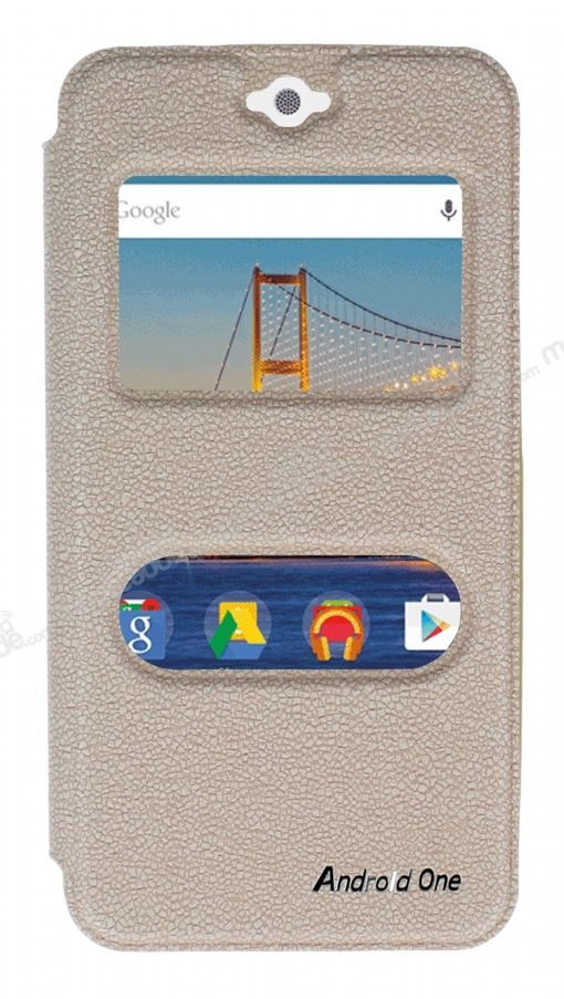 Eiroo Slim Craft General Mobile Android One Pencereli Standlı Gold Deri Kılıf