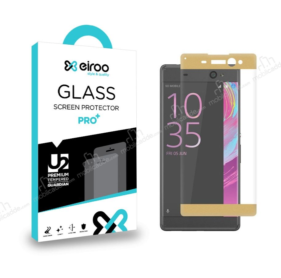 Eiroo Sony Xperia XA Ultra Curve Tempered Glass Gold Full Cam Ekran Koruyucu