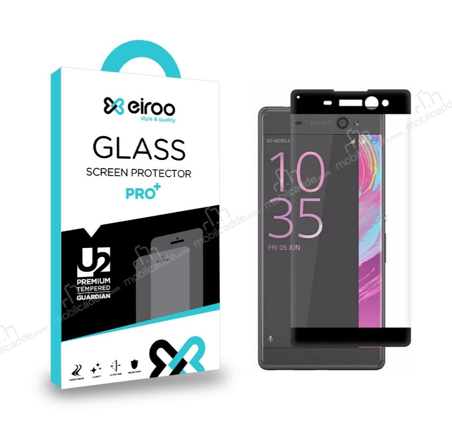 Eiroo Sony Xperia XA Ultra Curve Tempered Glass Siyah Full Cam Ekran Koruyucu