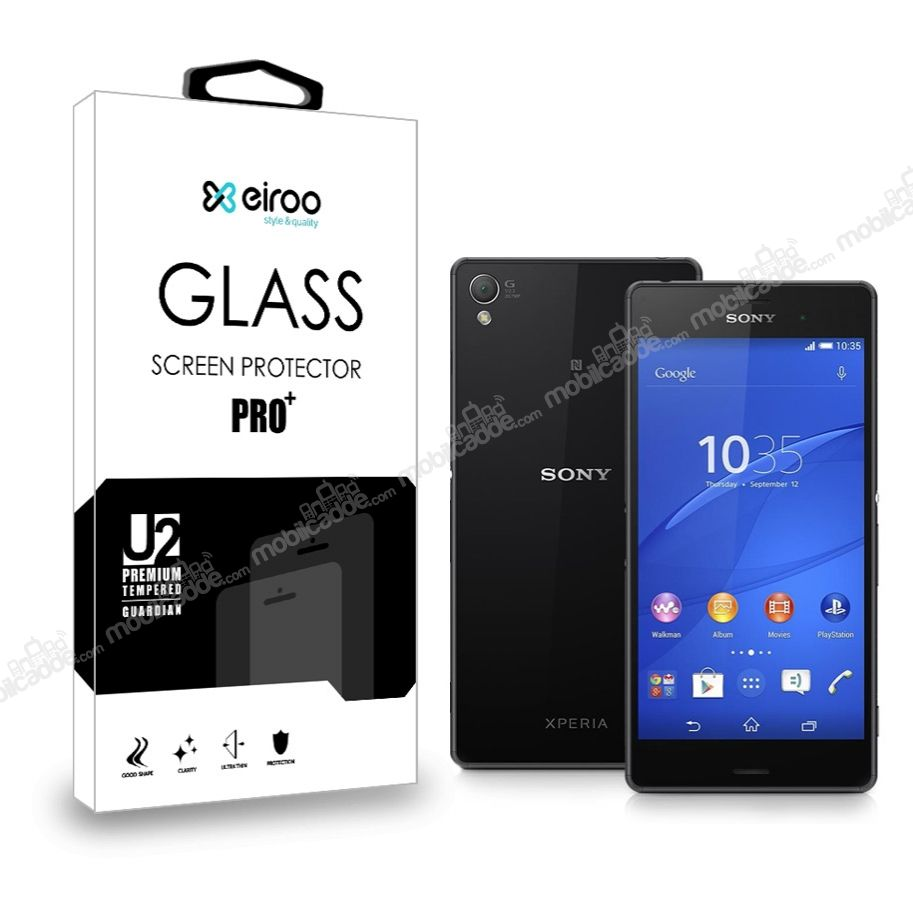 Eiroo Sony Xperia Z3 Plus Ön + Arka Tempered Glass Cam Ekran Koruyucu