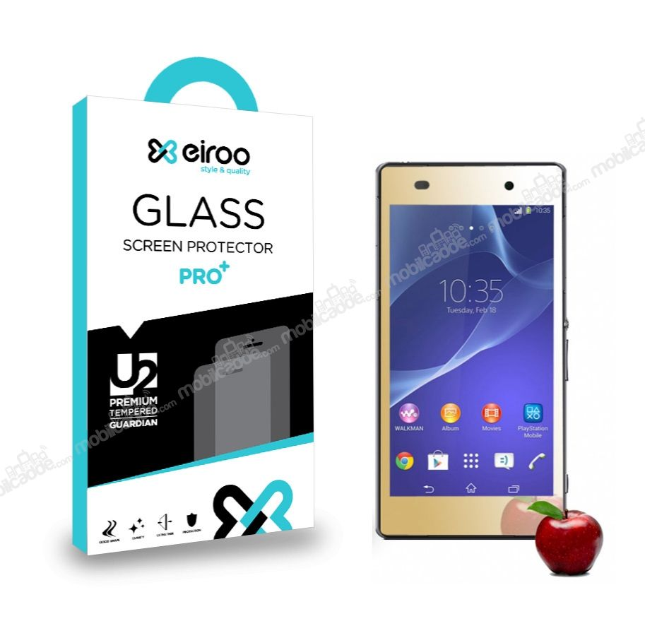 Eiroo Sony Xperia Z2 Tempered Glass Ayna Gold Cam Ekran Koruyucu