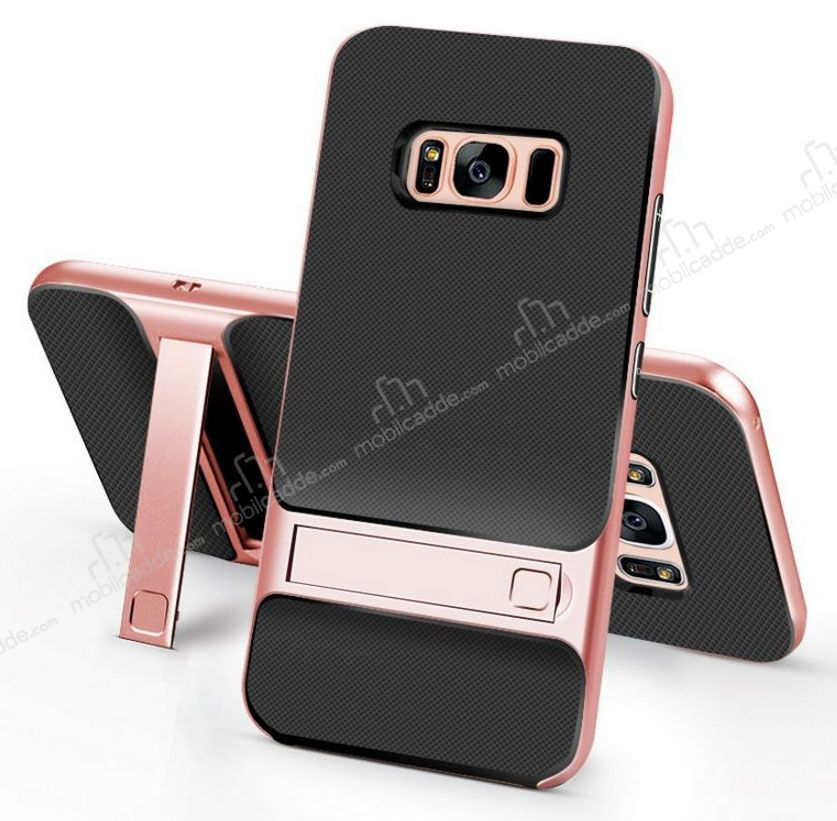 Eiroo Tiger Power Samsung Galaxy S8 Plus Standlı Ultra Koruma Rose Gold Kılıf