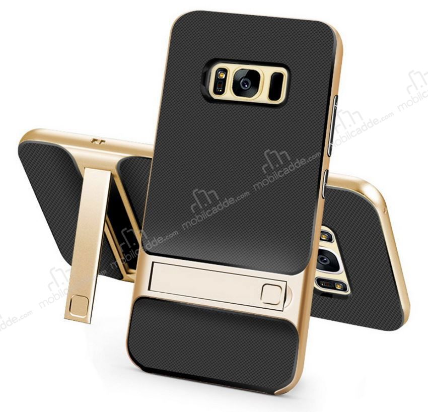 Eiroo Tiger Power Samsung Galaxy S8 Plus Standlı Ultra Koruma Gold Kılıf