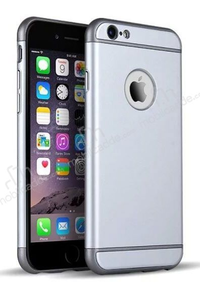 Eiroo Trio Fit iPhone 6 / 6S 3ü 1 Arada Silver Rubber Kılıf