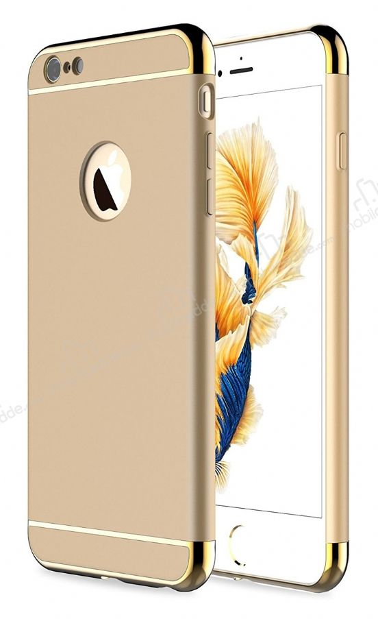 Eiroo Trio Fit iPhone 6 / 6S 3ü 1 Arada Gold Kenarlı Gold Rubber Kılıf