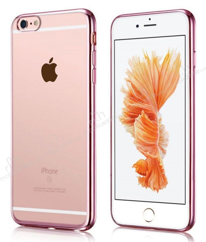 iPhone 6 Plus / 6S Plus Rose Gold Kenarlı Şeffaf Rubber Kılıf