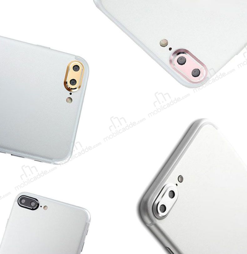 Iphone 7 Plus 8 Plus Silver Metal Kamera Lensi Koruyucu