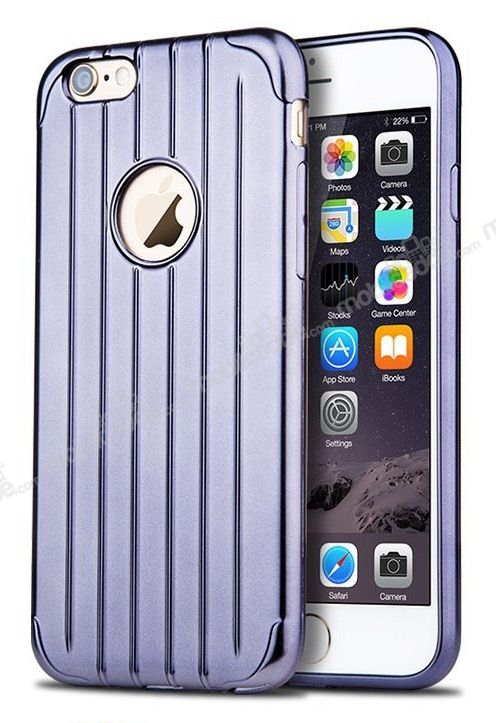 Joyroom Traveler iPhone 6 / 6S Metalik Dark Silver Silikon Kılıf