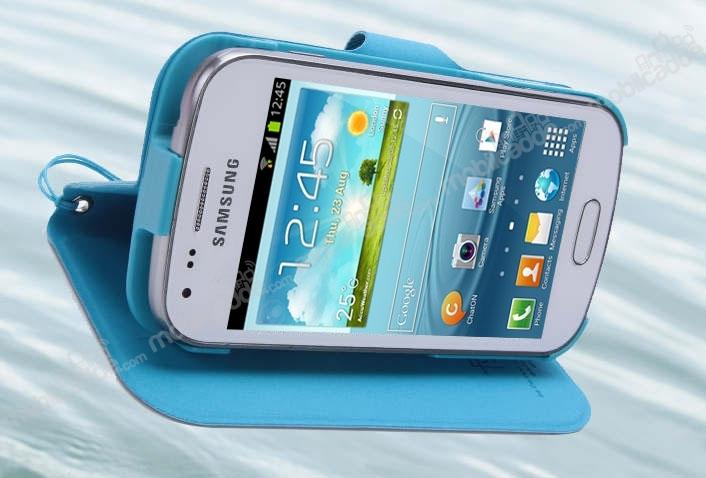 Samsung i8190 galaxy s3 mini unique mavi kapaklı kılıf resim 3