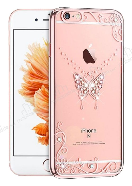 Kingxbar iPhone 6 / 6S Rose Gold Kelebek Taşlı Kristal Kılıf