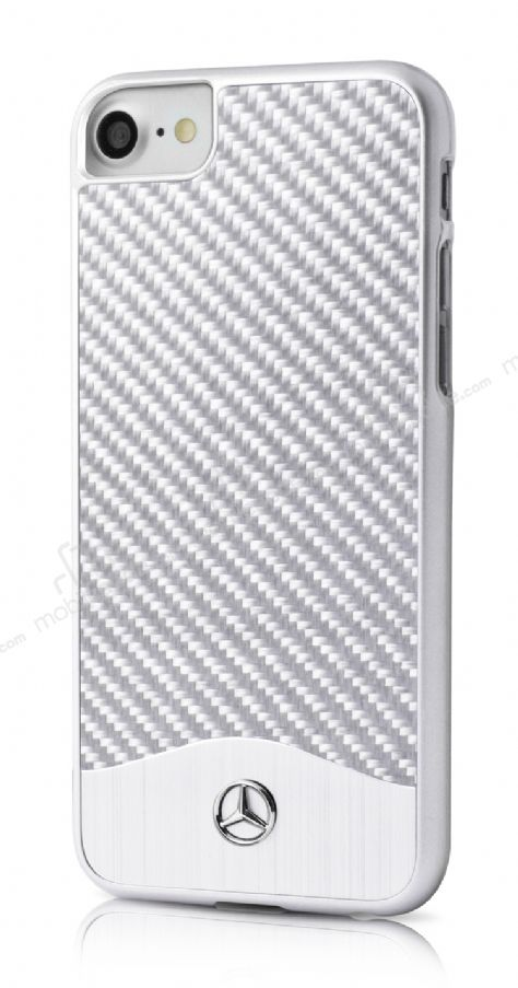 Mercedes-Benz iPhone 7 / 8 Karbon Silver Rubber Kılıf