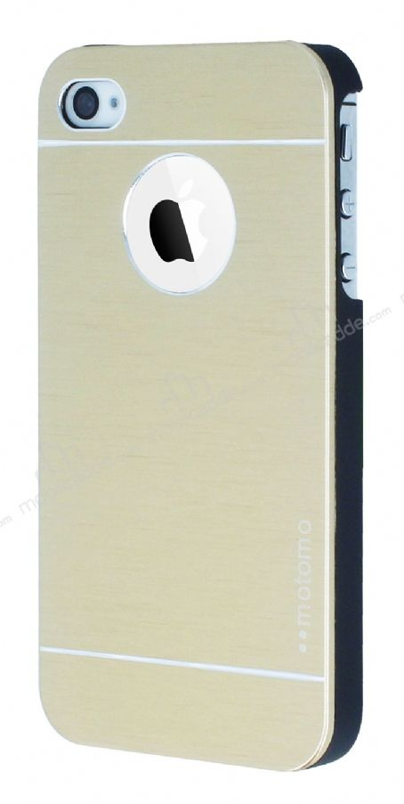 Motomo iPhone 4 / 4S Metal Gold Rubber Kılıf