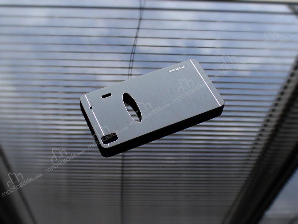 Motomo Lenovo A7000 Metal Siyah Rubber Kilif Stoktan