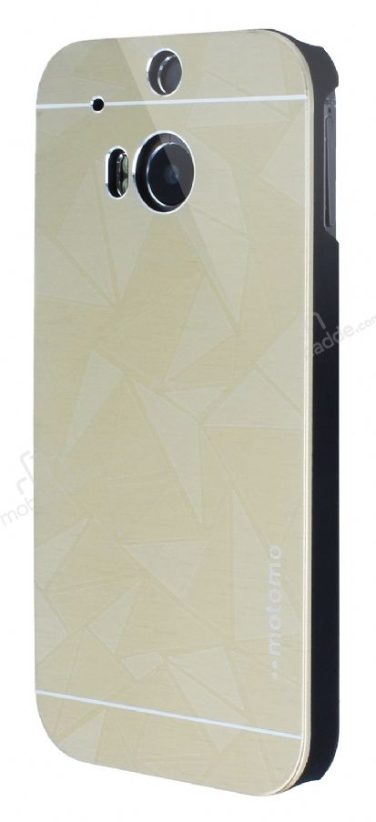 Motomo Prizma HTC One M8 Metal Gold Rubber Kılıf
