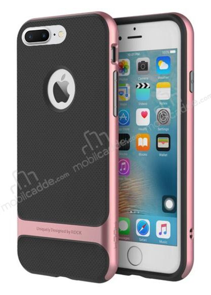 Rock Royce iPhone 7 Plus / 8 Plus Rose Gold Metalik Kenarlı Siyah Silikon Kılıf