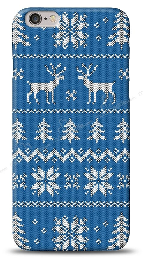 iPhone 6 Plus / 6S Plus Sweater Deer Mavi Kılıf