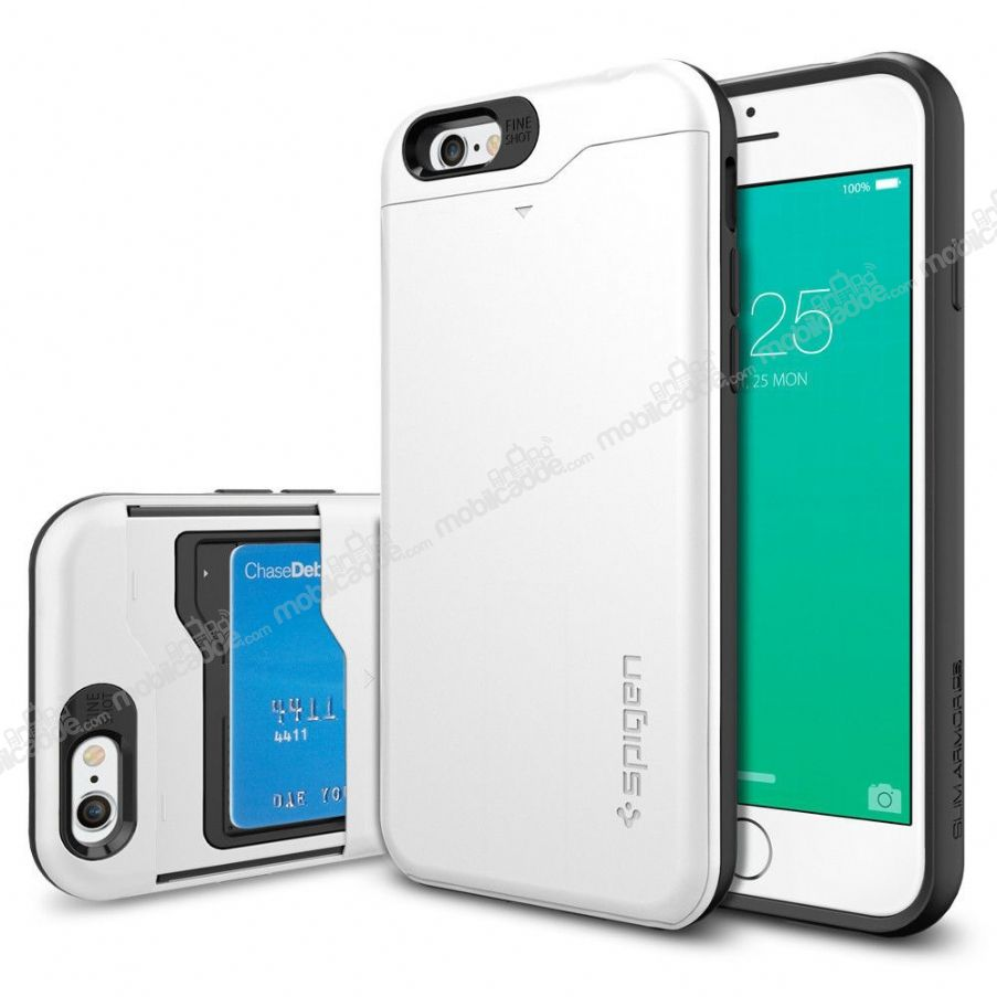 Spigen iPhone 6 / 6S Slim Armor Card Slider Beyaz Kılıf