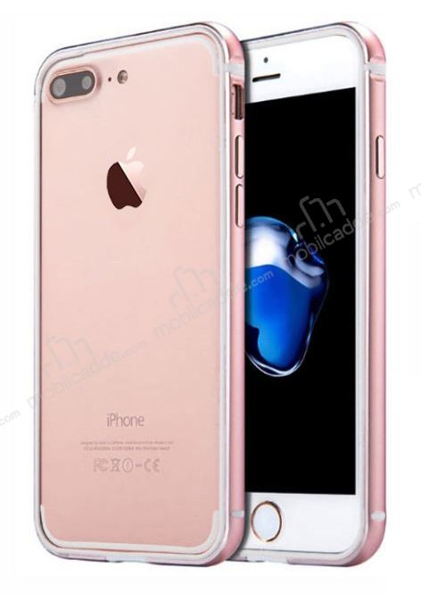 Sulada iPhone 7 Plus / 8 Plus Metal Bumper Çerçeve Rose Gold Kılıf