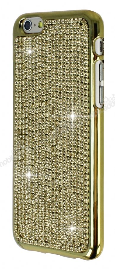Eiroo Glows iPhone 6 Plus / 6S Plus Taşlı Gold Rubber Kılıf