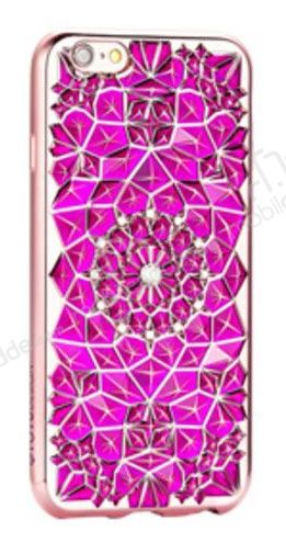 Totu Design Diamond iPhone 6 / 6S Rose Gold Kenarlı Taşlı Pembe Silikon Kılıf