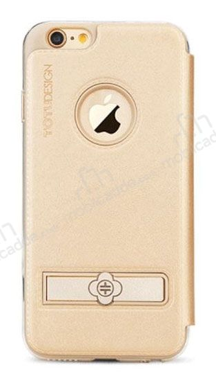 Totu Design Pleasure iPhone 6 / 6S Kapaklı Gold Deri Kılıf