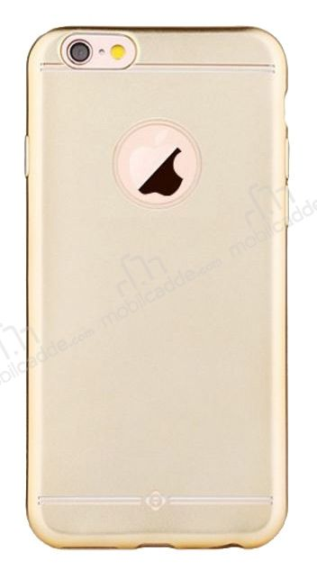 Totu Design Frosted iPhone 6 Plus / 6S Plus Ultra İnce Metalik Gold Silikon Kılıf