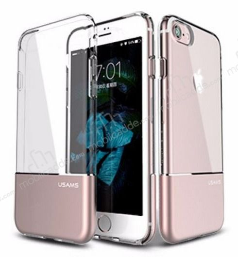 USAMS Ease iPhone 7 / 8 Rose Gold Metal Şeffaf Silikon Kılıf
