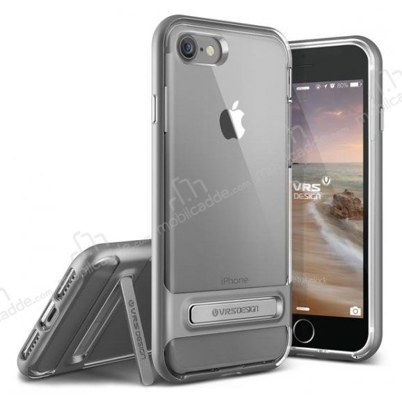 VRS Design Crystal Bumper iPhone 7 / 8 Steel Silver Kılıf