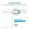 ANKER Powerline Lightning Beyaz Örgülü Data Kablosu 90cm - Resim 2