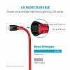 ANKER Powerline Lightning Kırmızı Örgülü Data Kablosu 90cm - Resim 1