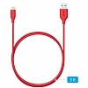 ANKER Powerline Lightning Kırmızı Data Kablosu 90cm - Resim 5