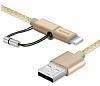 Baseus Antila Series Dayanıklı 2 in 1 Gold Data Kablosu 1m - Resim 5
