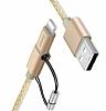 Baseus Antila Series Dayanıklı 2 in 1 Gold Data Kablosu 1m - Resim 1