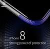 Baseus Armor iPhone X Lacivert Kenarlı Silikon Kılıf - Resim 4