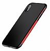 Baseus Bumper iPhone X Kırmızı Kenarlı Silikon Kılıf - Resim 10