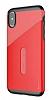 Baseus Card Pocket iPhone X Silikon Kenarlı Kırmızı Rubber Kılıf - Resim 9