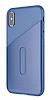 Baseus Card Pocket iPhone X Silikon Kenarlı Lacivert Rubber Kılıf - Resim 9