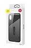 Baseus Card Pocket iPhone X Silikon Kenarlı Lacivert Rubber Kılıf - Resim 8