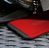 Baseus Card Pocket iPhone X Silikon Kenarlı Kırmızı Rubber Kılıf - Resim 3