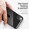 Baseus Card Pocket iPhone X Silikon Kenarlı Siyah Rubber Kılıf - Resim 1