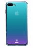 Baseus Glass iPhone 7 Plus / 8 Plus Mavi Rubber Kılıf - Resim 3