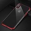 Baseus Glitter iPhone X Kırmızı Kenarlı Şeffaf Rubber Kılıf - Resim 9