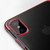 Baseus Glitter iPhone X Siyah Kenarlı Şeffaf Rubber Kılıf - Resim 1